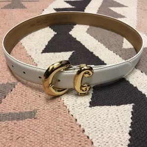 Anne Klein genuine leather white gold belt small